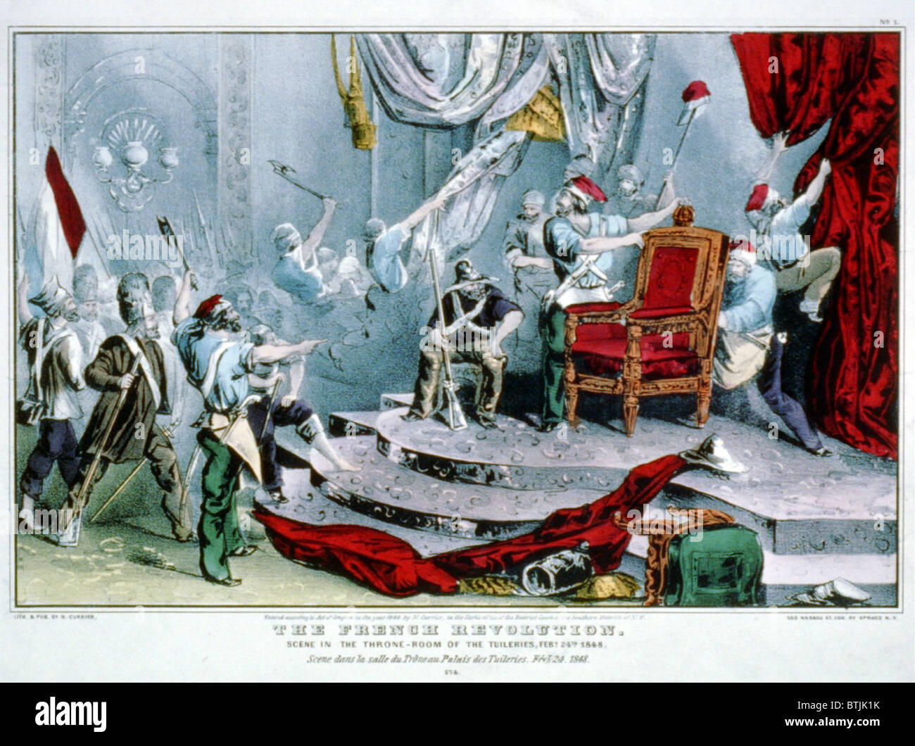 1848, The French revolution: scene in the throne-room of the Tuileries, Feby. 24th, 1848 - Stock Image