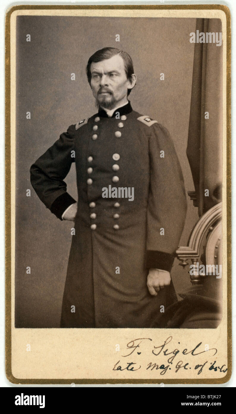 Major General Franz Sigel Carte De Visite Signed By Ca 1862