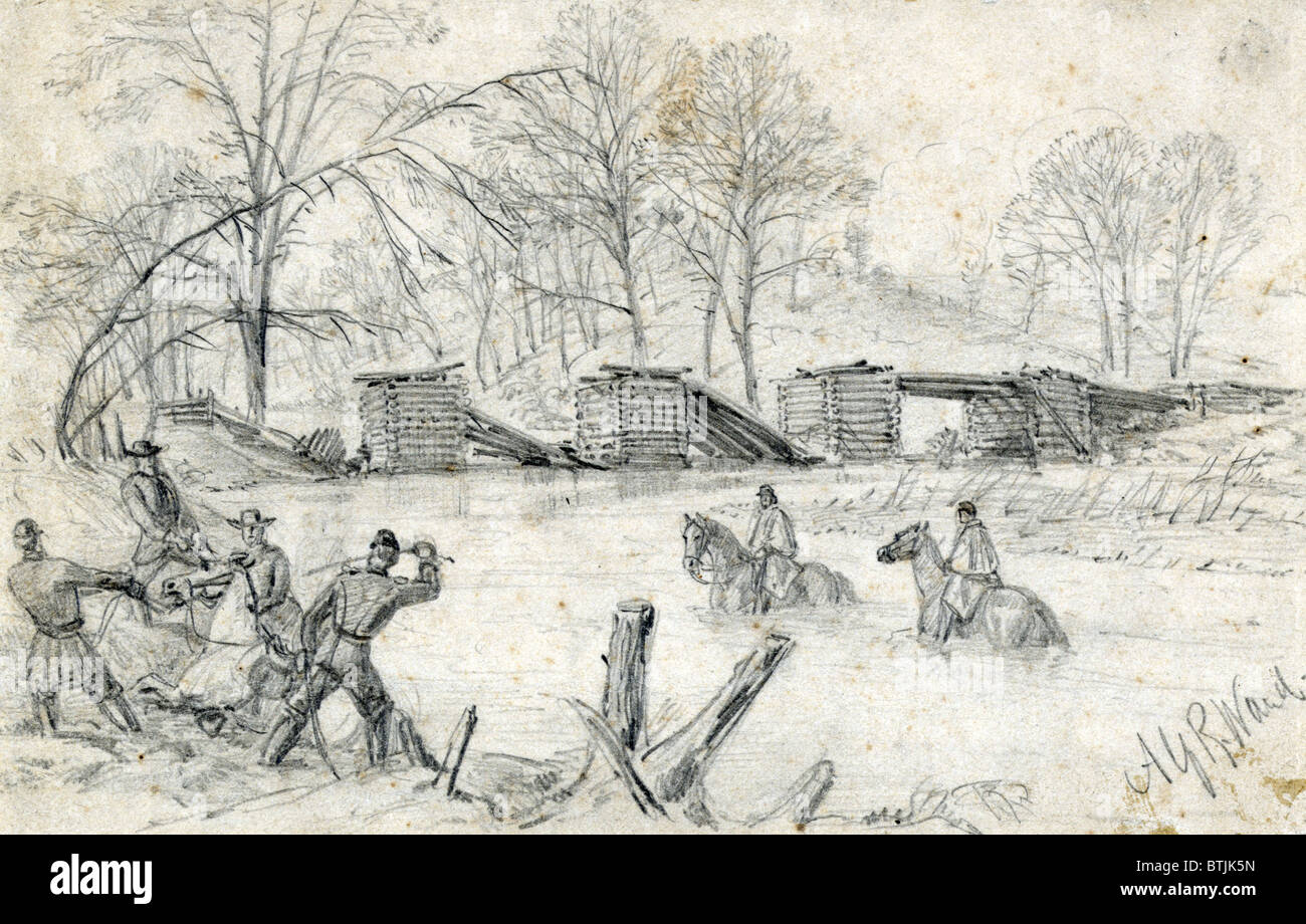 the civil war soldiers on horseback crossing a river near a stock