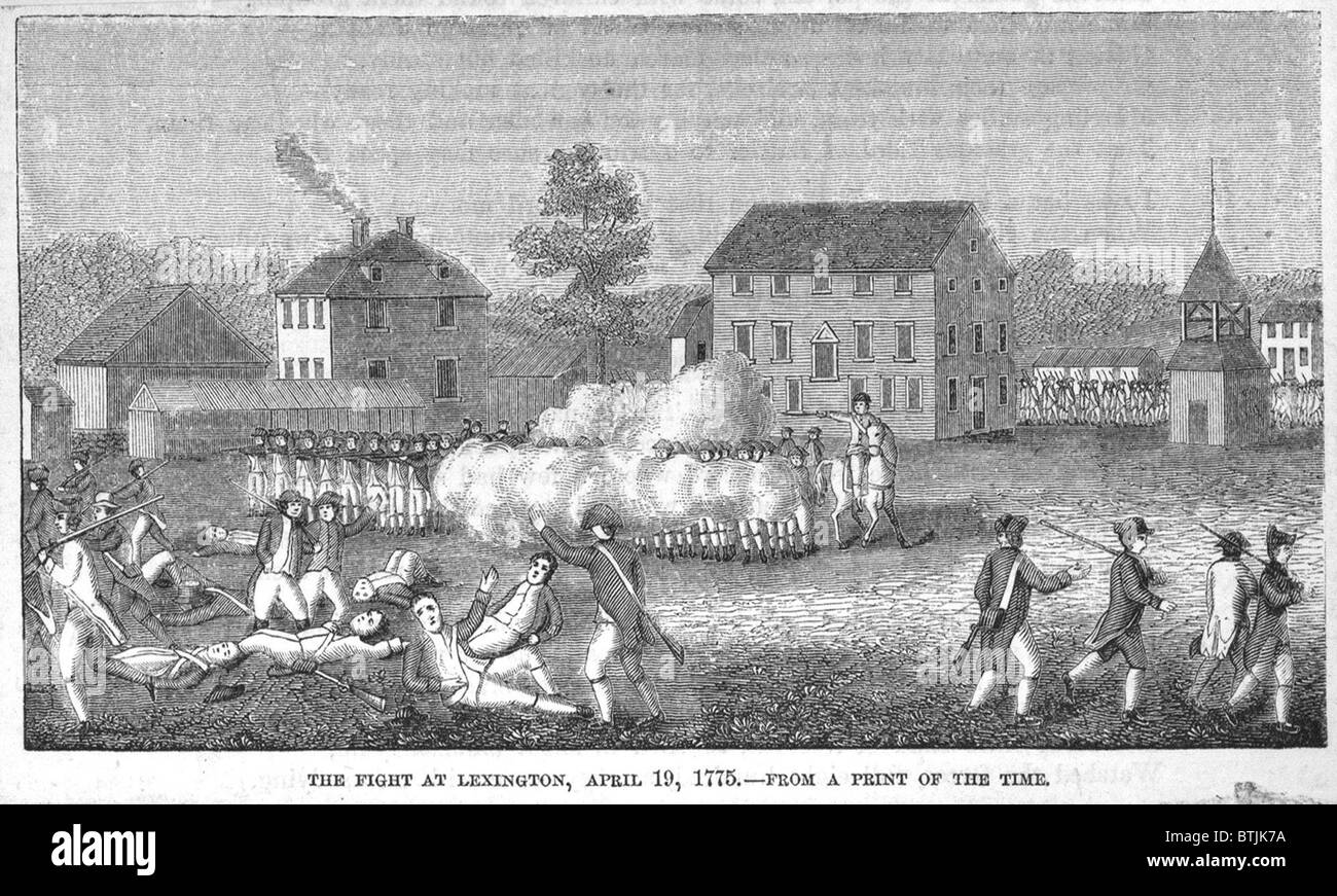 British troops firing on Minute Men in Lexington Massachusetts, etching, between 1850 - 1880. - Stock Image