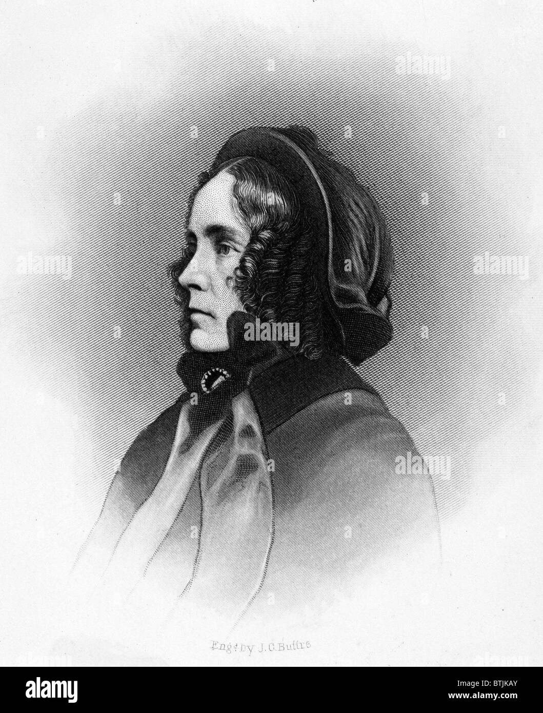 Mrs. Franklin Pierce, engraved by JC Butte. ca. 1850's - Stock Image