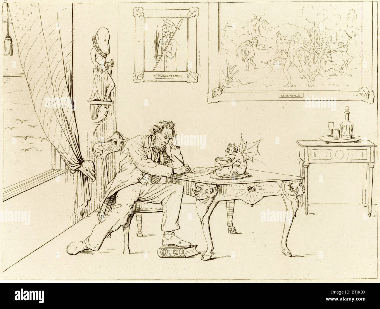 The Civil War. A Southern View, a depiction of President Abraham Lincoln as the devil, writing the Emancipation - Stock Image