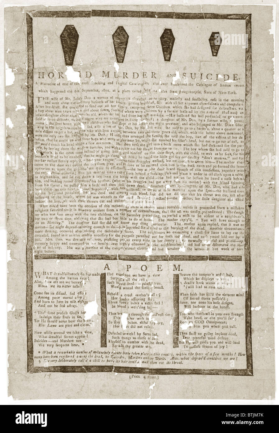Souvenir of a murder with coffin drawings and poem detailing the events, description of a murder and suicide on - Stock Image