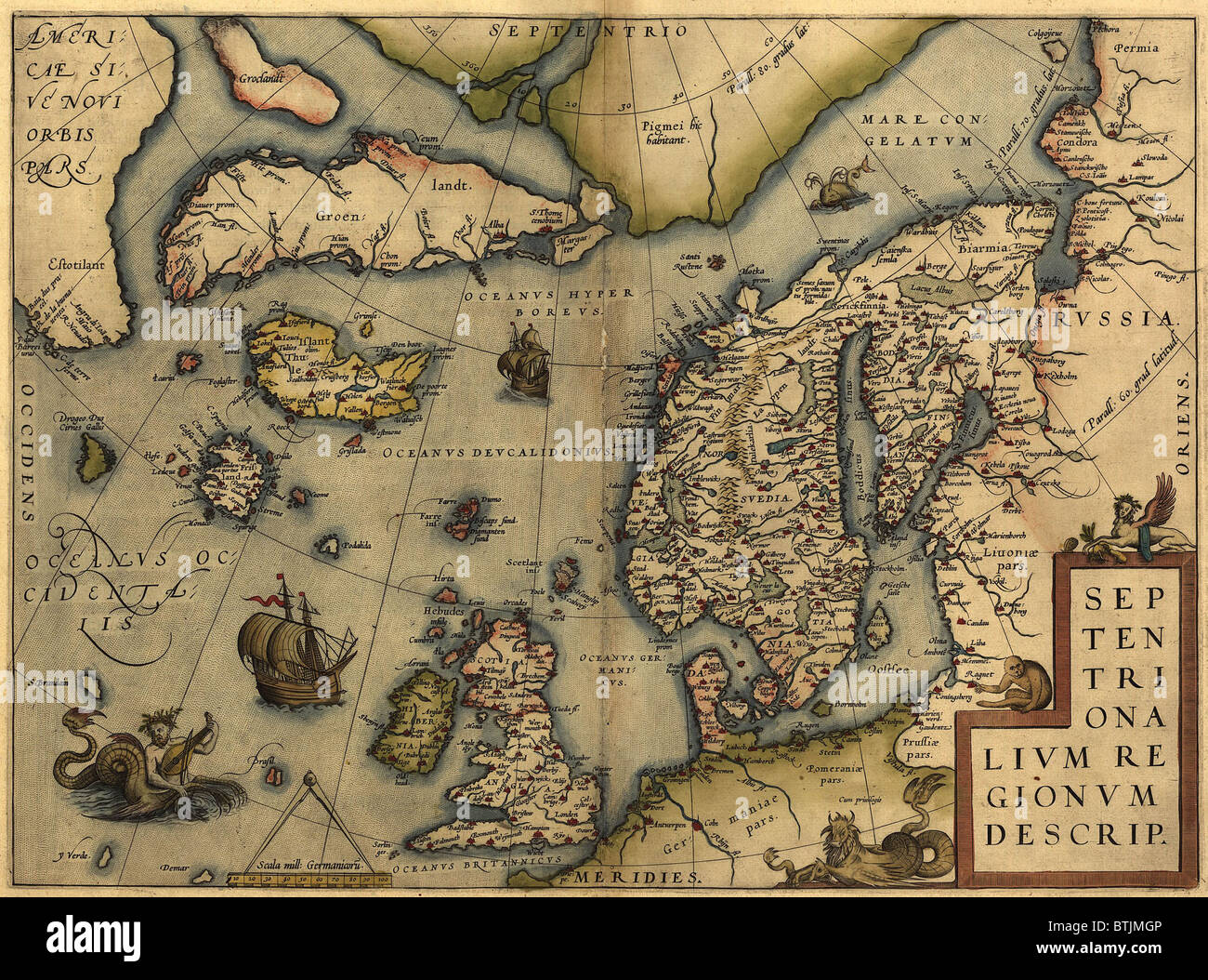 1570 map of Northwest Europe and The North Atlantic Ocean. From ...