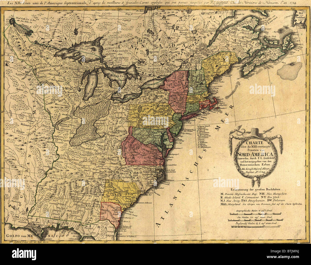 Map Showing The Newly Independent United States In 1784 Following