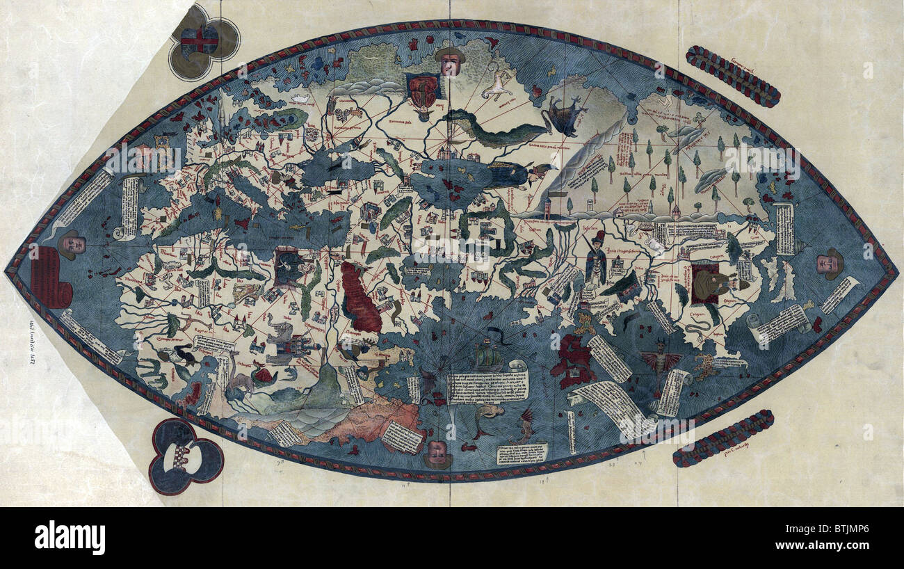 World Map by Paolo dal Pozzo Toscanelli shows lands of the Eastern Hemisphere is based on the conception of the - Stock Image