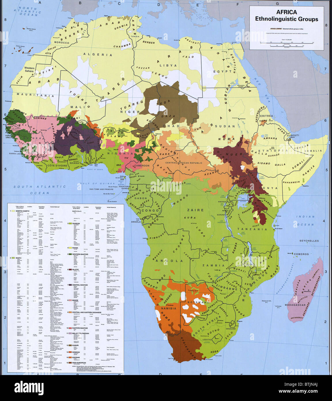 Map showing ethnology and linguistic groups of Africa that conflict with  national boundaries, based on European - Stock Image