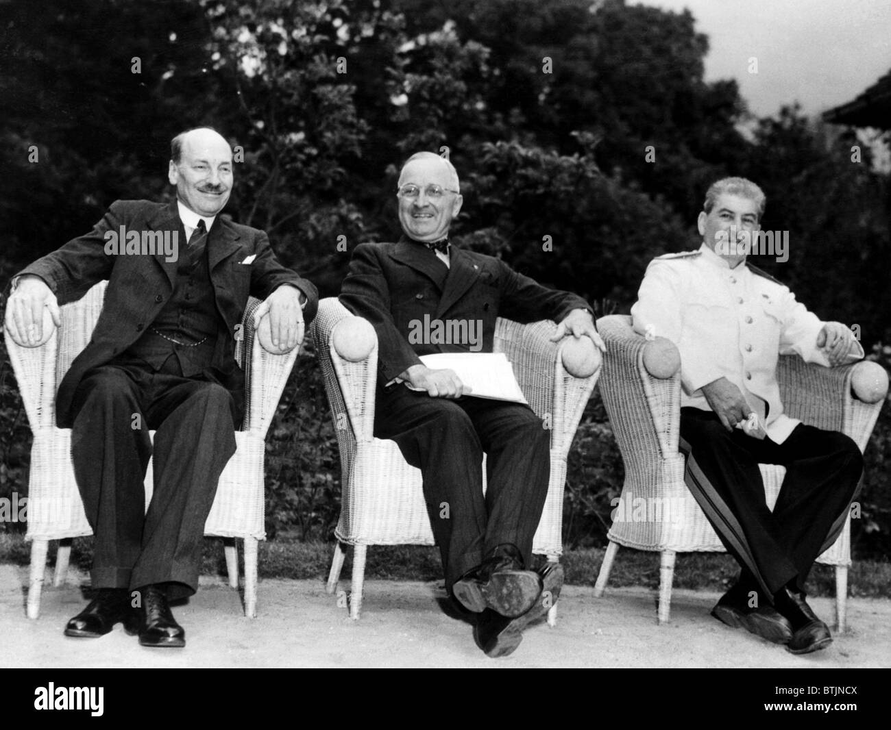 The Potsdam Conference: British Prime Minister Clement Attlee, U.S. President Harry S. Truman, Soviet General Secretary - Stock Image