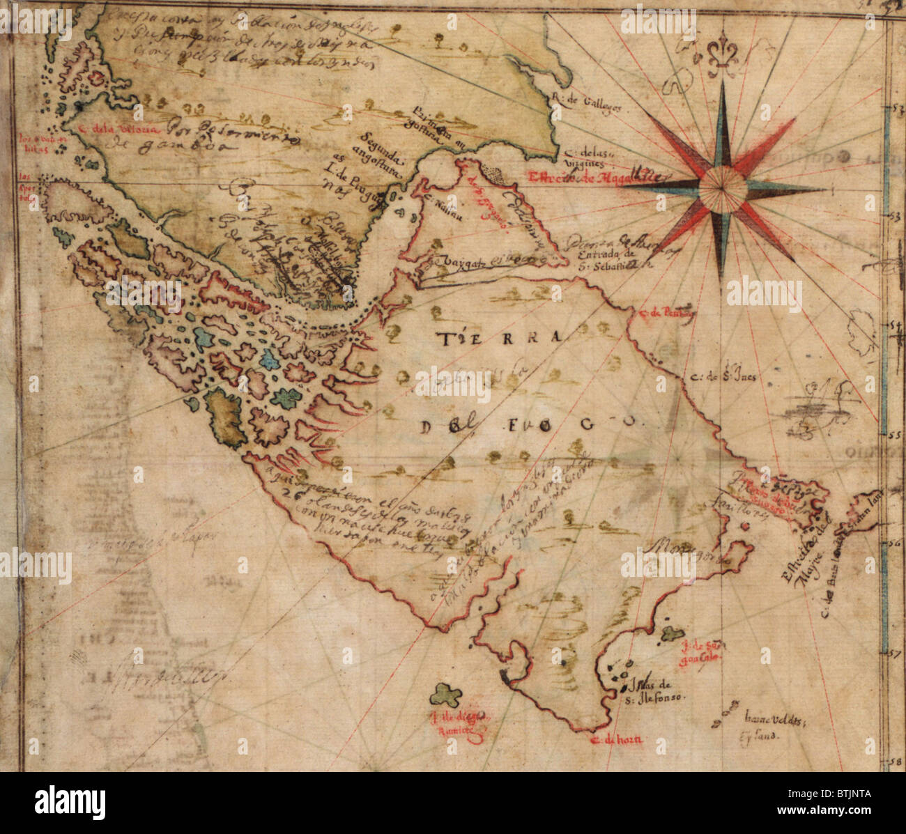 Tip Of South America Map.1630 Map Of Strait Of Magellan At The Southern Tip Of South America