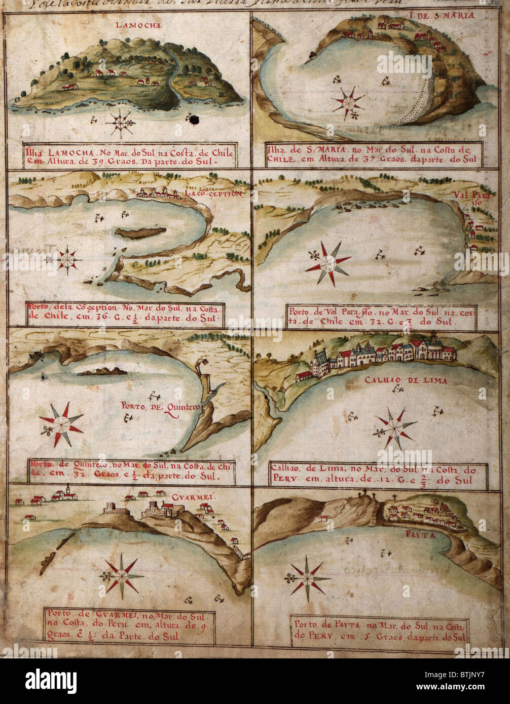 1630 views of ports of Peru and Chile, including Lima,Peru and Concepcion,Chile. - Stock Image
