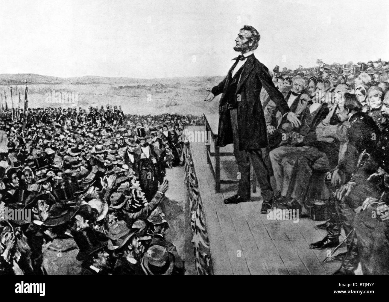 Abraham Lincoln (1809-1865), U.S. President (1861-1865), A.T. Keller sketch  of Lincoln's Gettysburg Address in Gettysburg Pennsy