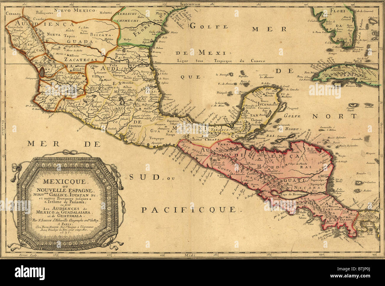 1656 map of Central America and Mexico, showing many modern place names and boundaries. Stock Photo