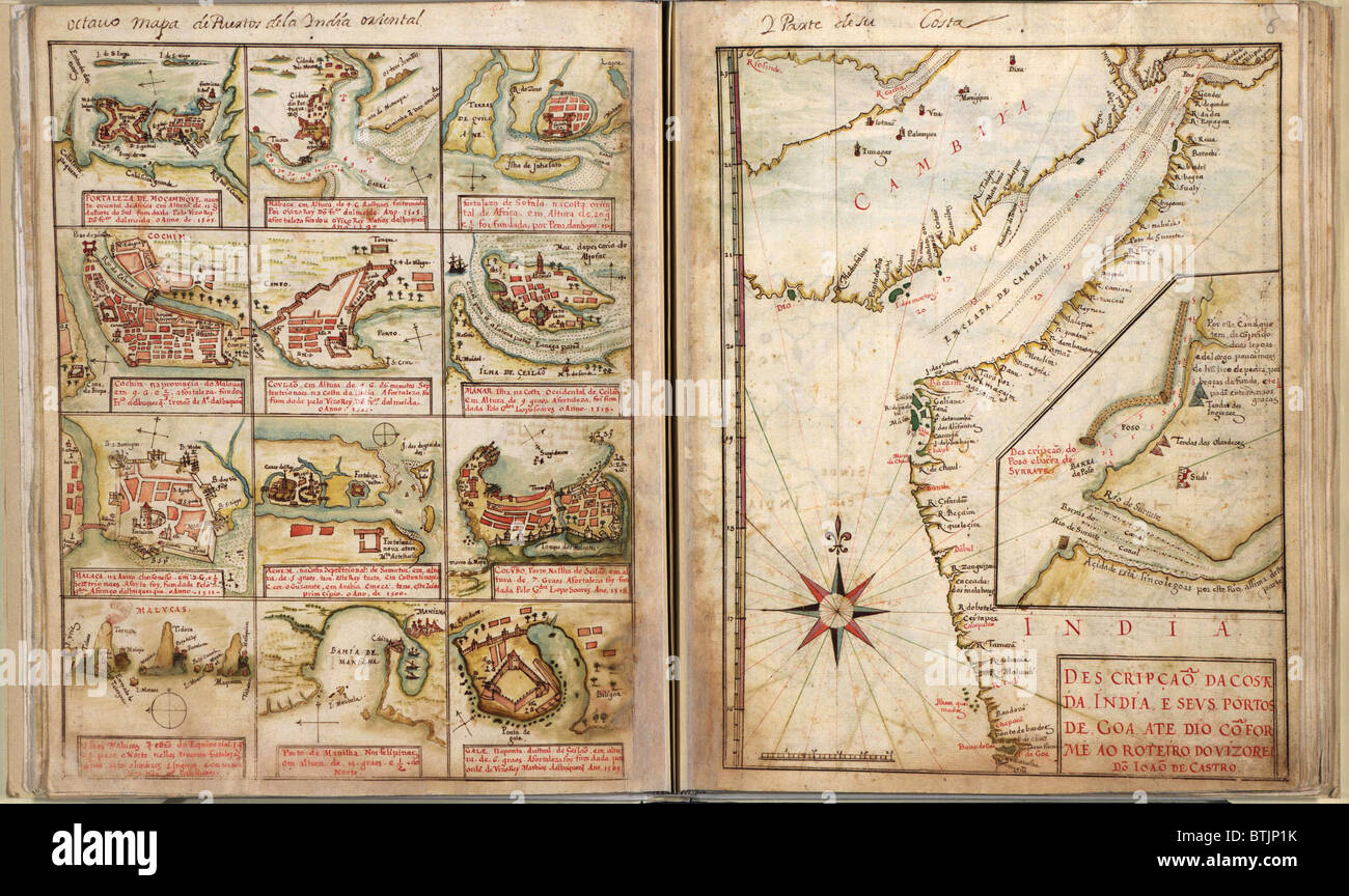 Portuguese maps showing views of port settlements and fortifications in Africa and Asia, from 1630 atlas. - Stock Image