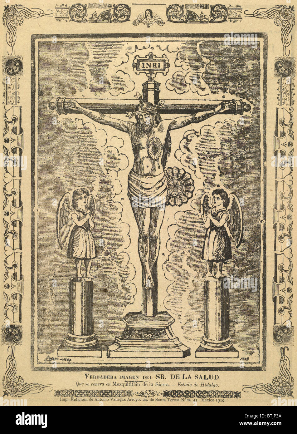 """Jesus Christ, broadside depicting a crucifix flanked by statues of angels, titled: """"True Image of Our Lord of Health Stock Photo"""