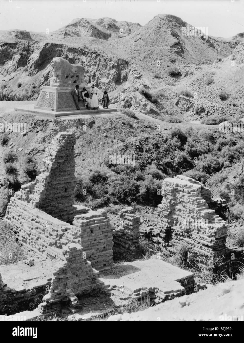 Babylon, Basalt lion marking Daniel's den, Iraq, circa 1932. Stock Photo