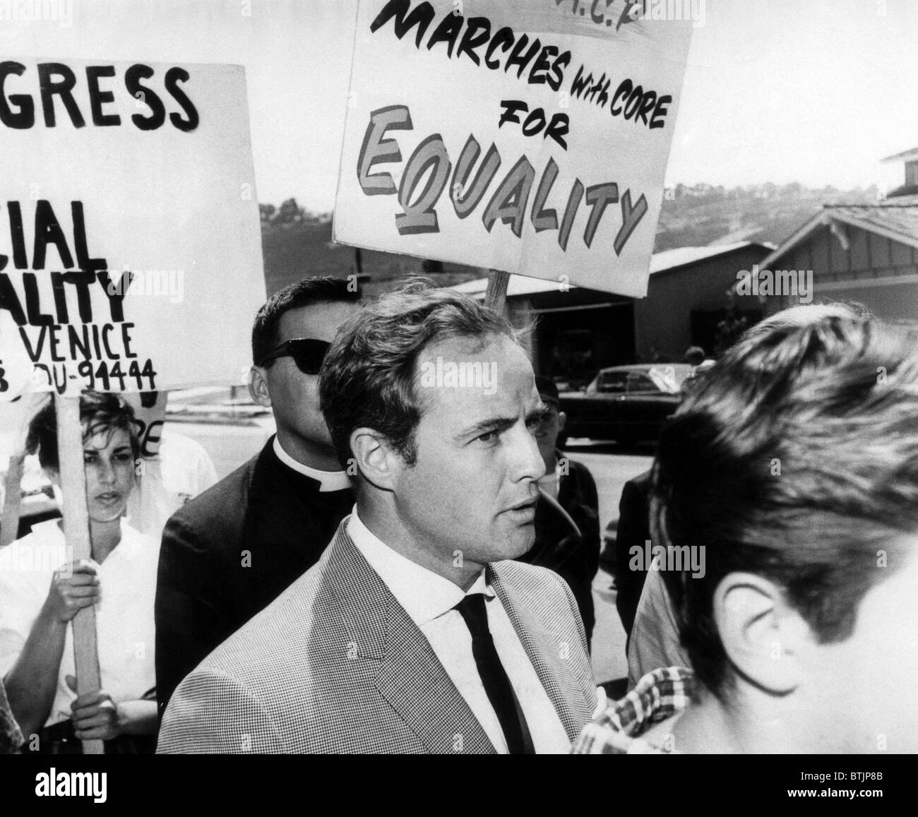 Marlon Brando marches with CORE picketers against segregated housing in Torrance, California, 1963. Courtesy: CSU - Stock Image