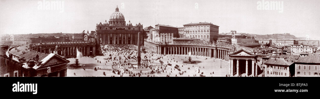 Religion, panoramic view of Piazza St. Peter's, Vatican City, Italy, 1909. - Stock Image
