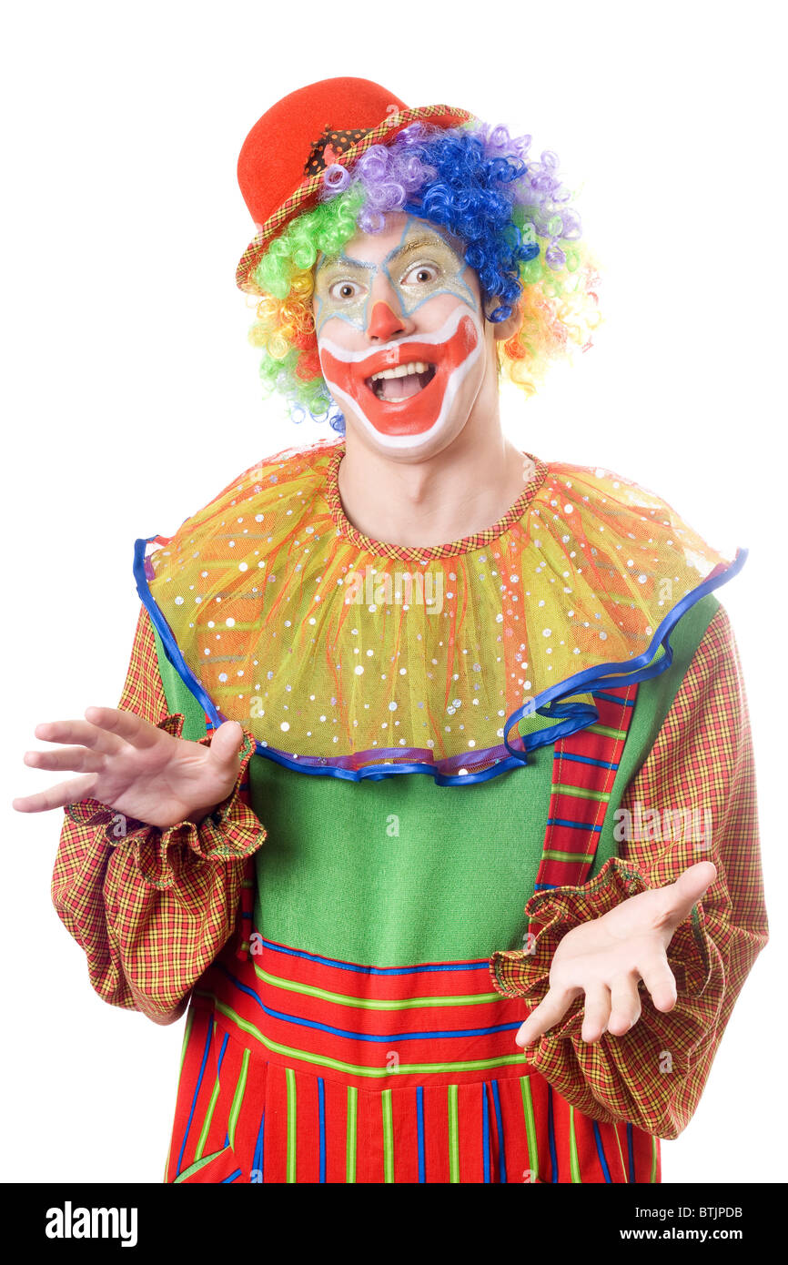 Portrait of a funny young clown. Isolated on white - Stock Image