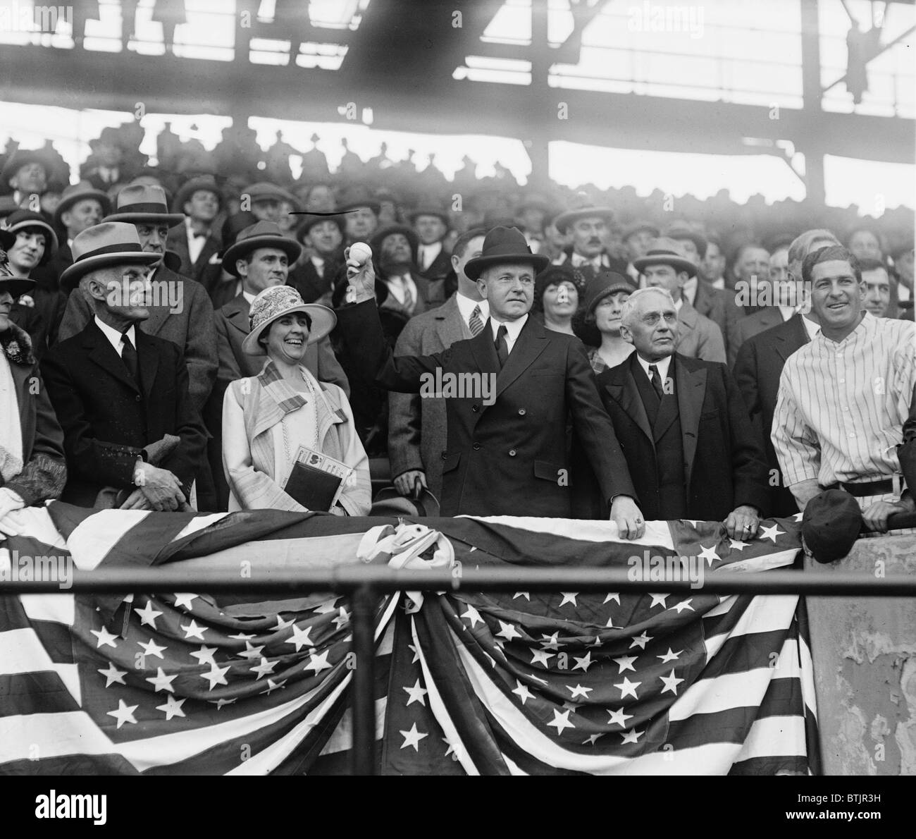 President Calvin Coolidge (1872-33), with wife Grace and Sec. of Treasury Andrew Mellon, opens the Baseball season Stock Photo