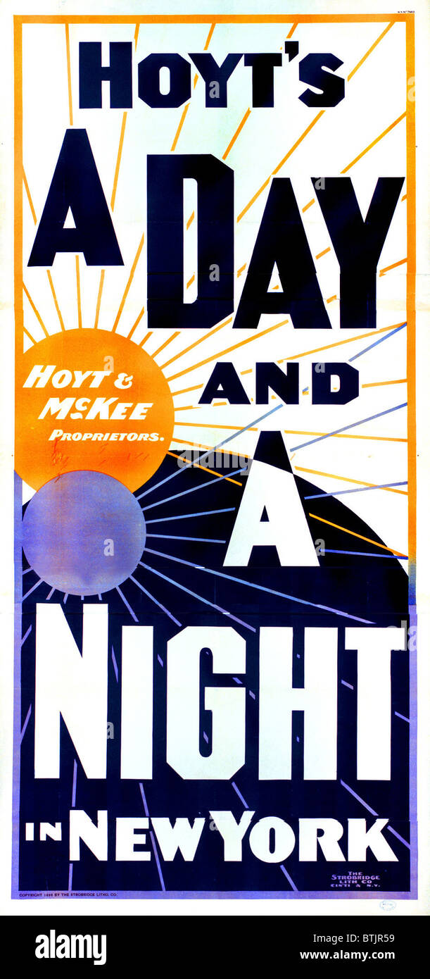 Hoyt's A day and a night in New York, lithograph poster for the play by Charles Hale Hoyt, circa 1898. - Stock Image