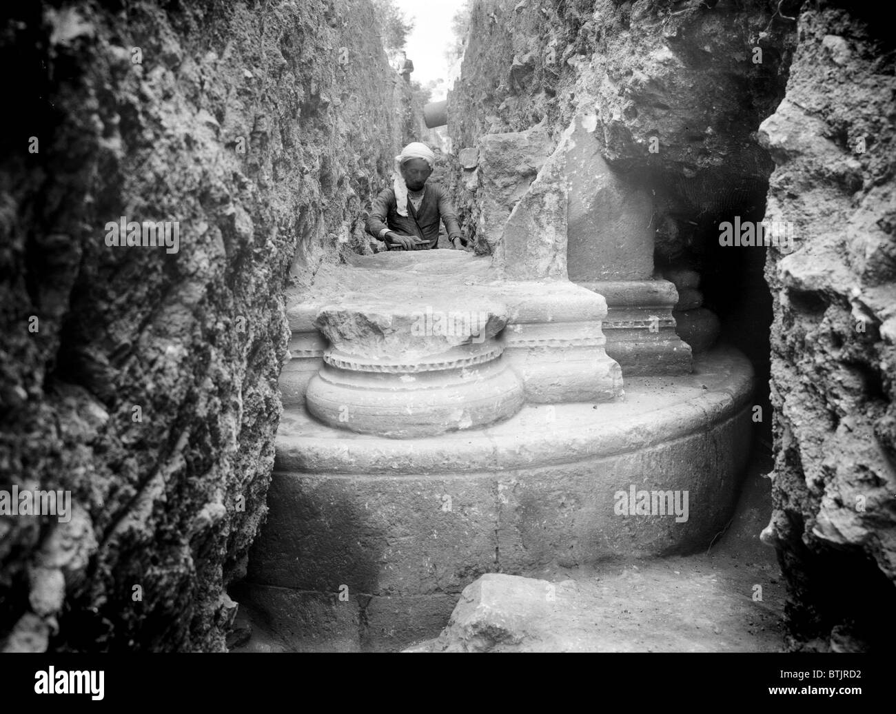 The remains of the Crusader church, Gethsemane, Syria, circa 1937. - Stock Image