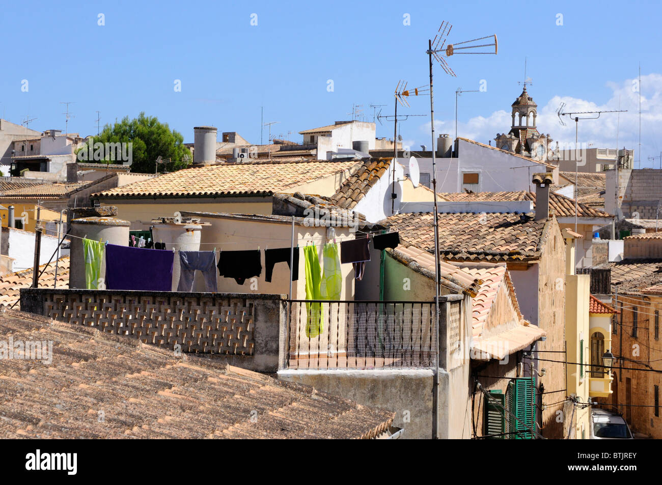 The rooftops of Alcudia, Majorca - Stock Image