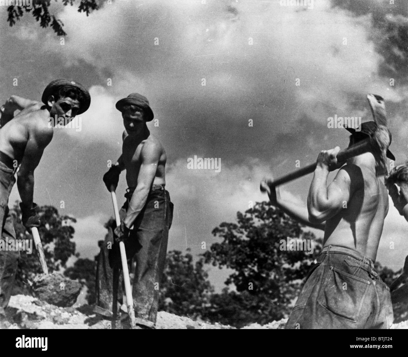 Civilian Conservation Corps boys at work, United States Resettlement Administration, photograph by Carl Mydans, - Stock Image