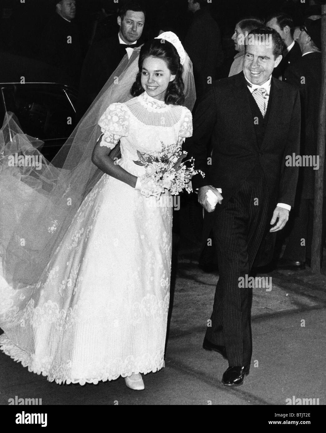 U.S. President-elect Richard Nixon (right,) escorting his daughter Julie Nixon into Marble Collegiate Church for - Stock Image