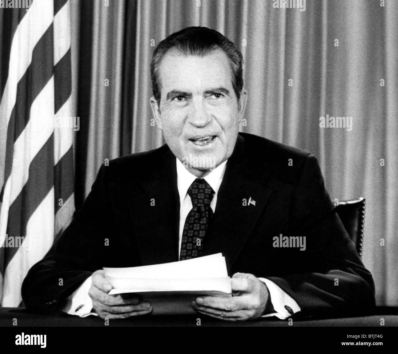 In a nationally televised address, U.S. President Richard Nixon declares his innocence in the Watergate scandal, - Stock Image
