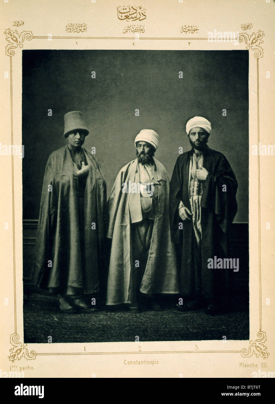 The Ottoman Empire, studio portrait of models wearing traditional clothing from Istanbul, Mevlevi Dervish, Bektasi - Stock Image