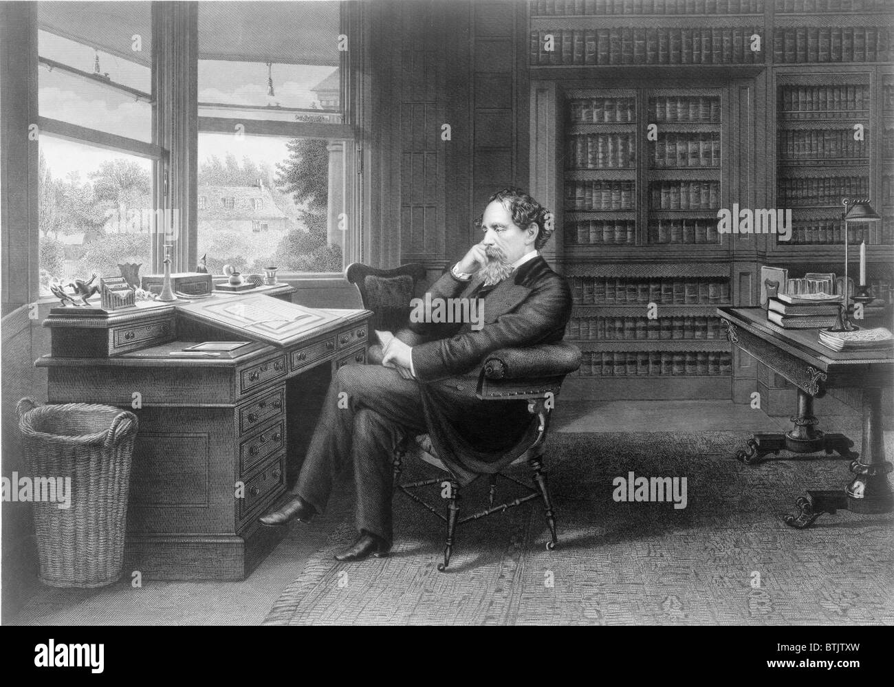 Charles Dickens (1812-1870) in his study at Gad's Hill Place. - Stock Image