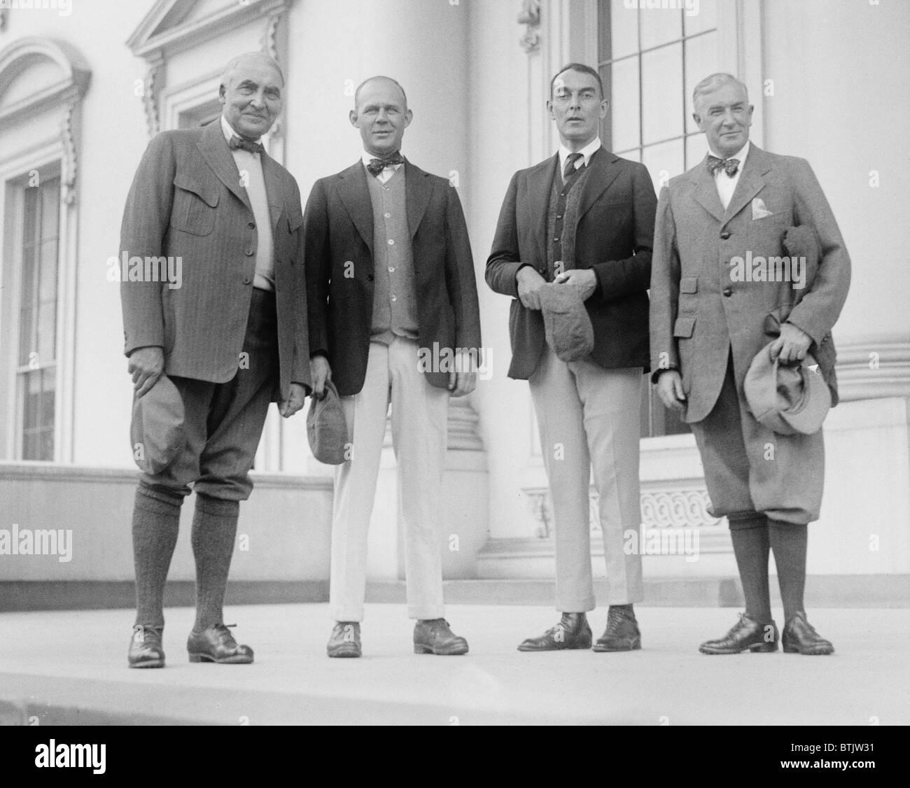 President Warren Harding (1965-1923), Henry Grantland Rice (1880-1954) sports columnist, Ring Lardner (1885-1933) - Stock Image