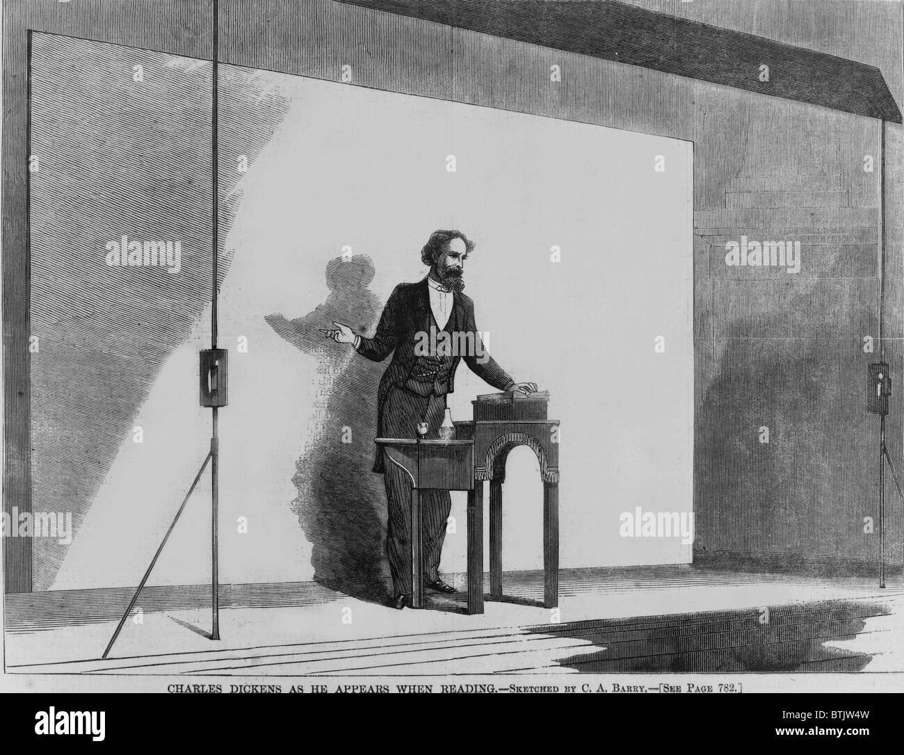 Charles Dickens (1812-1870) as he appeared during his American lecture tour, in Boston in the 1860's. - Stock Image
