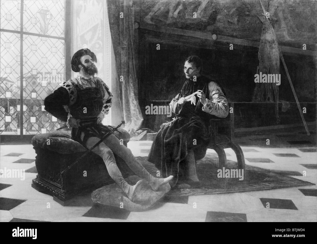 Niccoló Machiavelli (1469-1527) in an imagined scene with Borgia, Cesare. Machiavelli held Borgia as an example Stock Photo