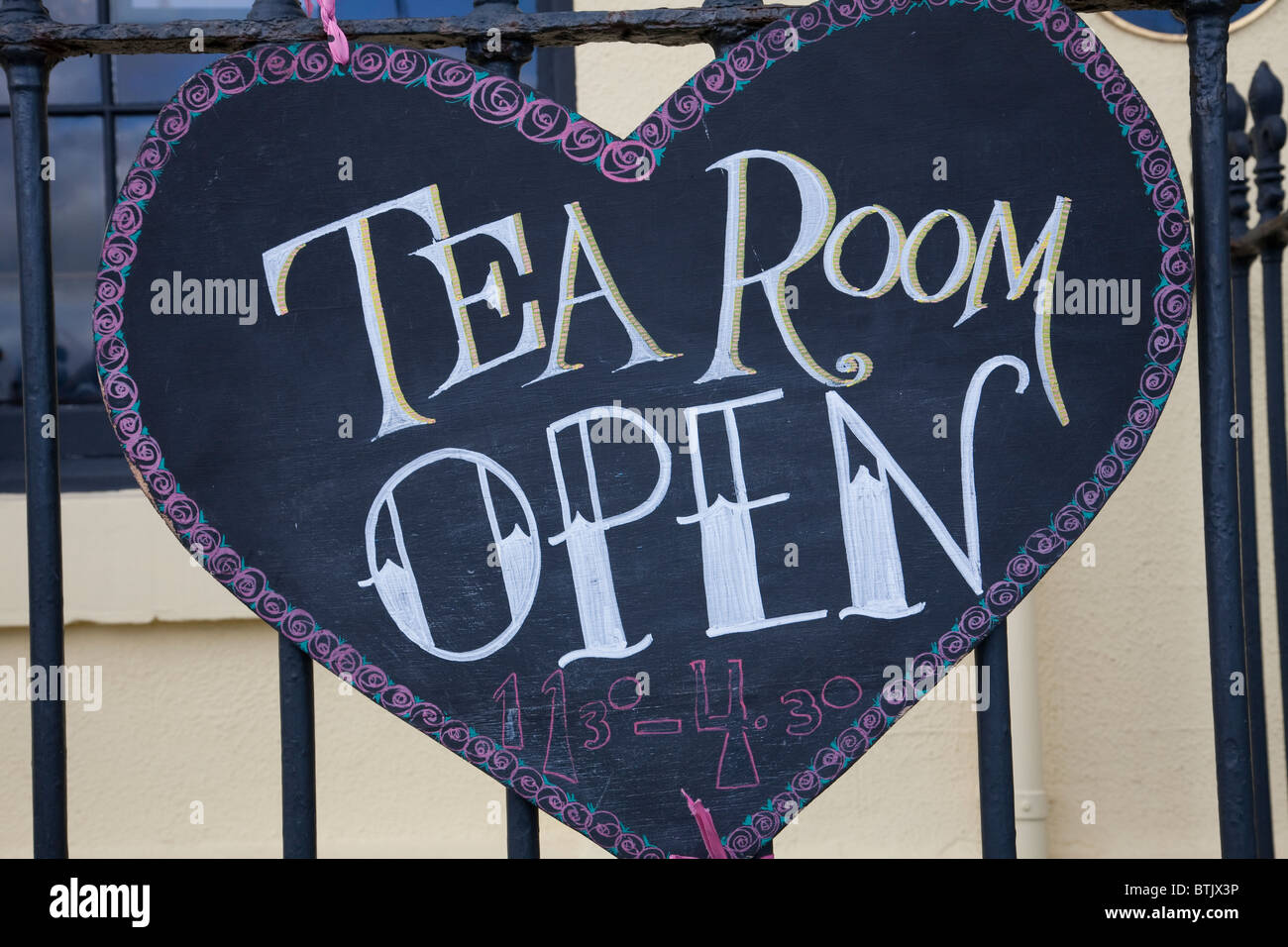 Tea Room OPEN sign Whitby North Yorkshire England - Stock Image
