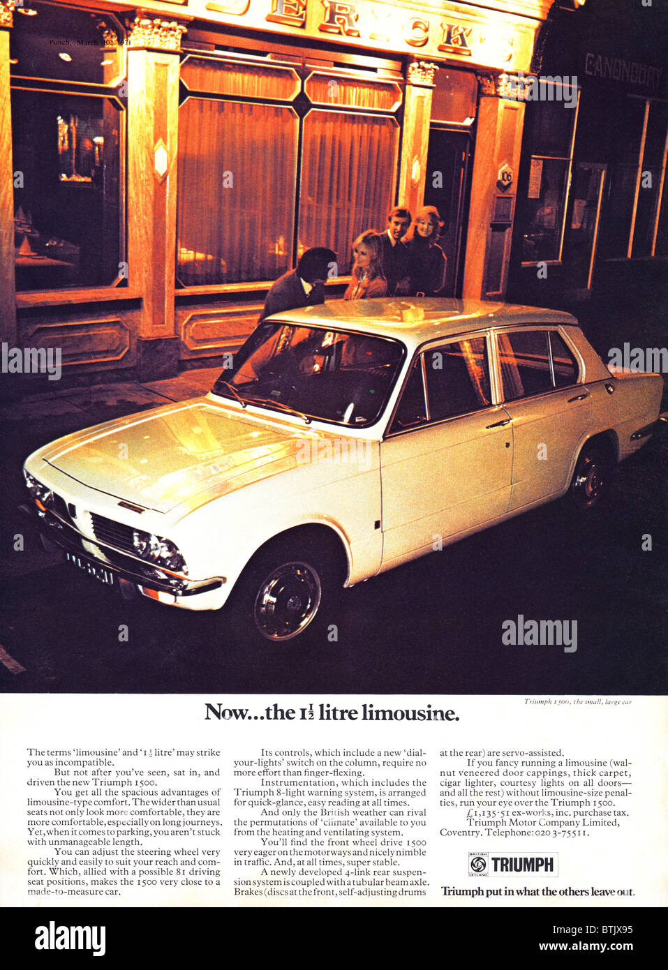 car advertisement - New car advert advertising for Triumph 1500 car in Punch magazine circa 1971 - Stock Image