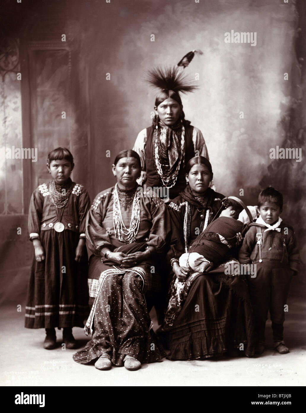 Native American family, original title: 'Sauk Indian family', photograph by Frank A. Rinehart, 1899. - Stock Image