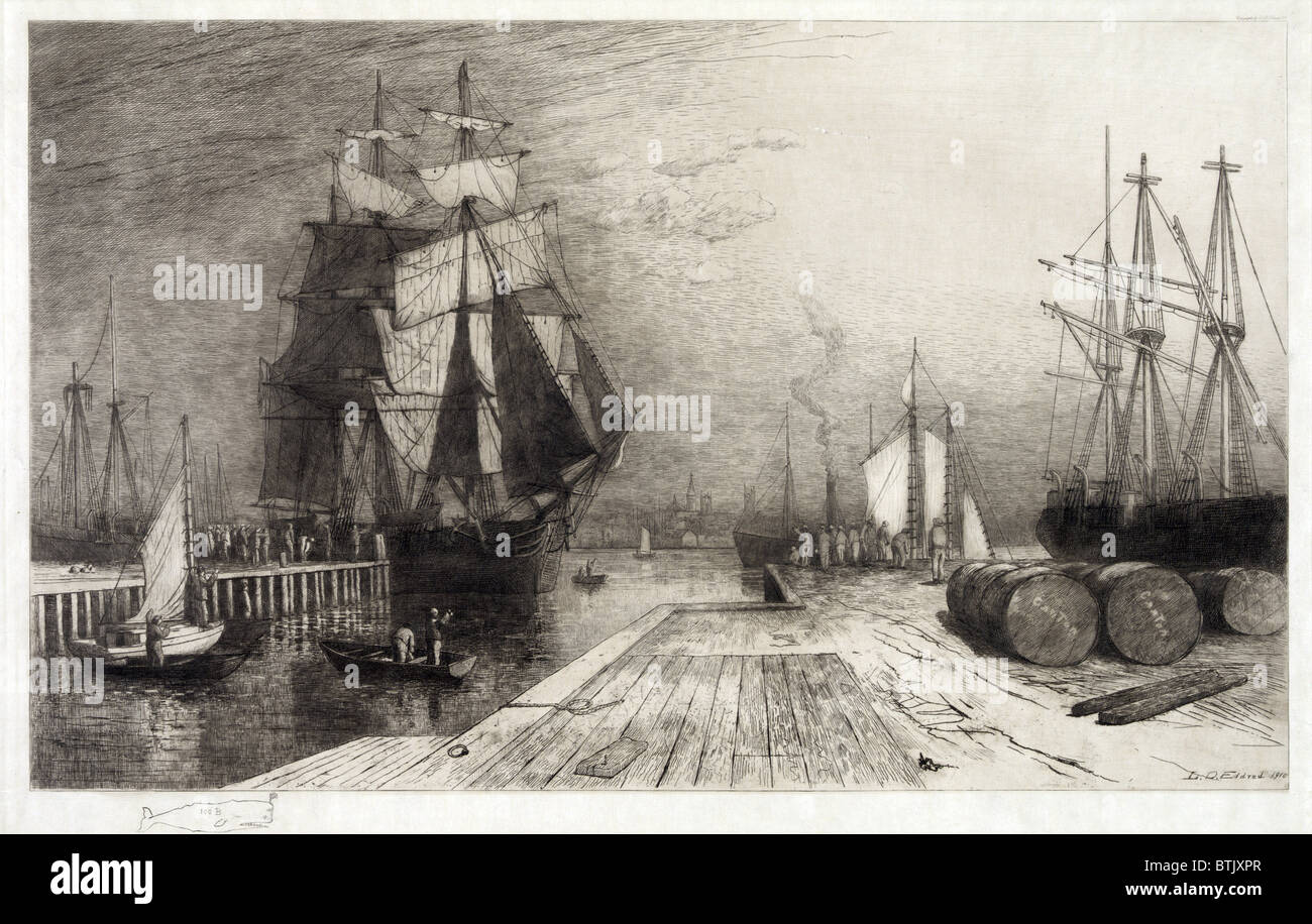 Return of the Whaler, etching with ships and dock, circa late 1800s. - Stock Image