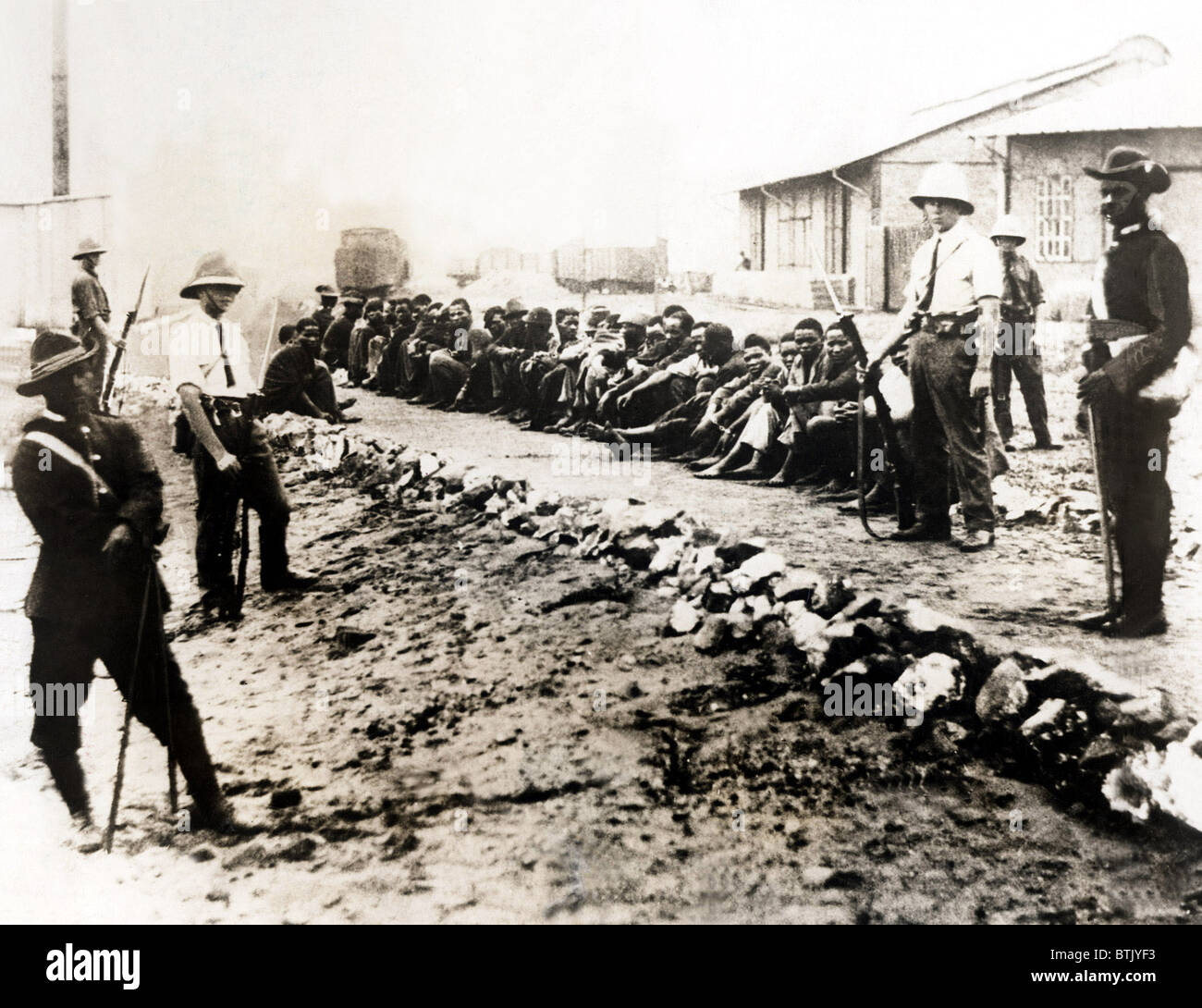 Native round-up by the British government in South Africa, 1930 Stock Photo