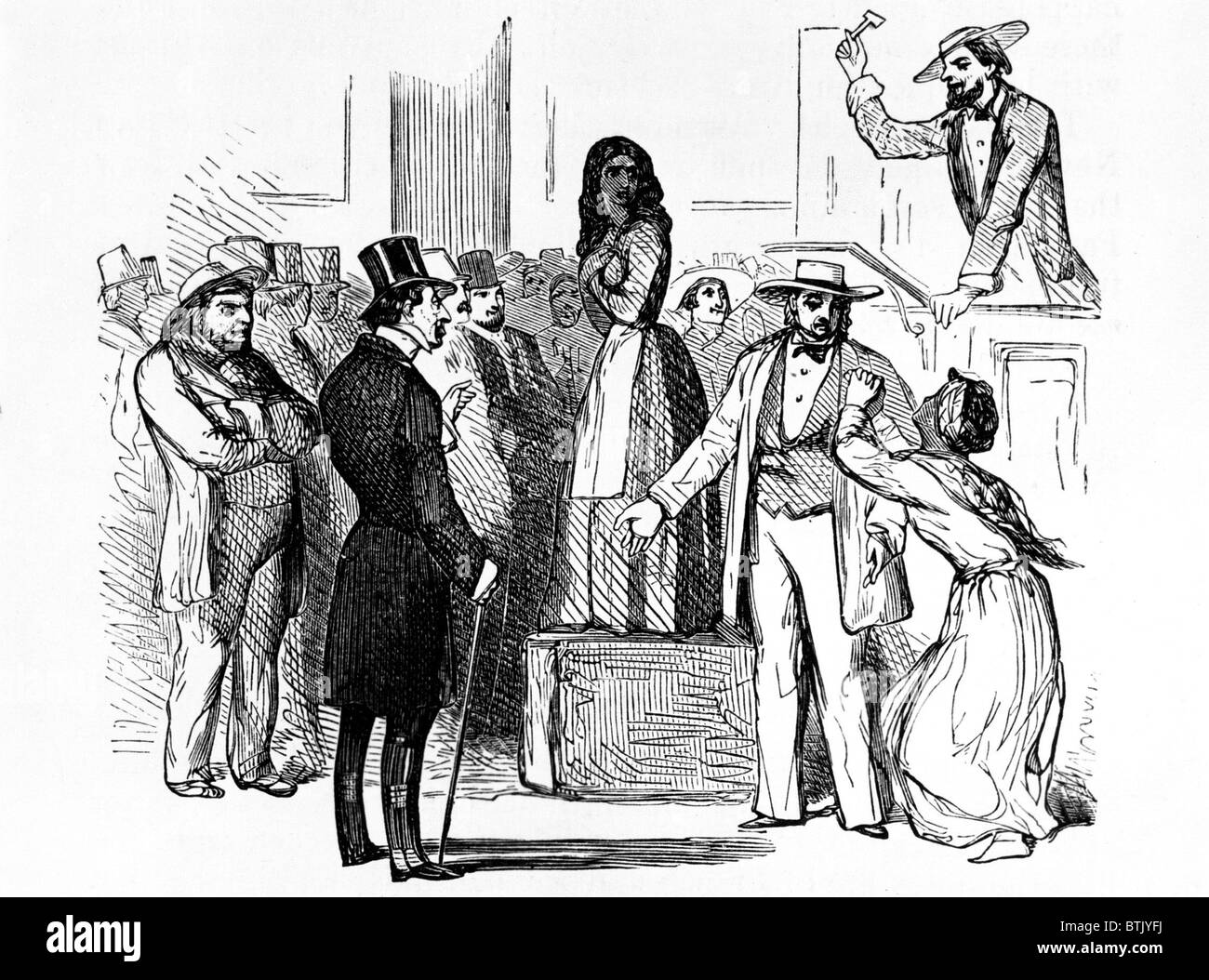 Slave auction in the American South, early 1800s Stock Photo