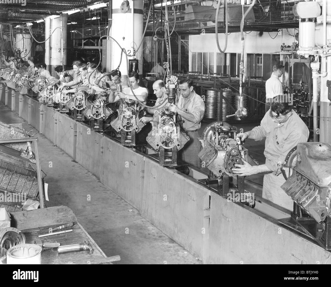 Cadillac embly line, at their car manufacturing plant, Detroit ...