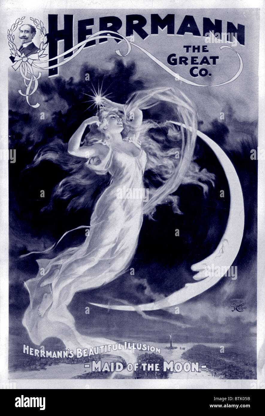 Herrmann the Great, Herrmann's Beautiful Illusion - Maid of the Moon, by The H.C. Miner Lithograph Company, - Stock Image