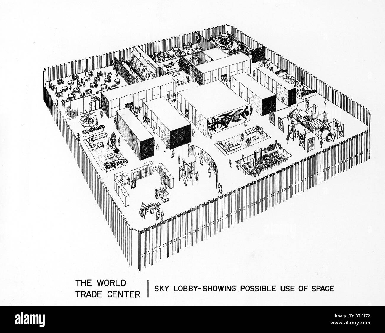 world trade center, diagram of proposed use of sky lobby space, dated  04-08-67