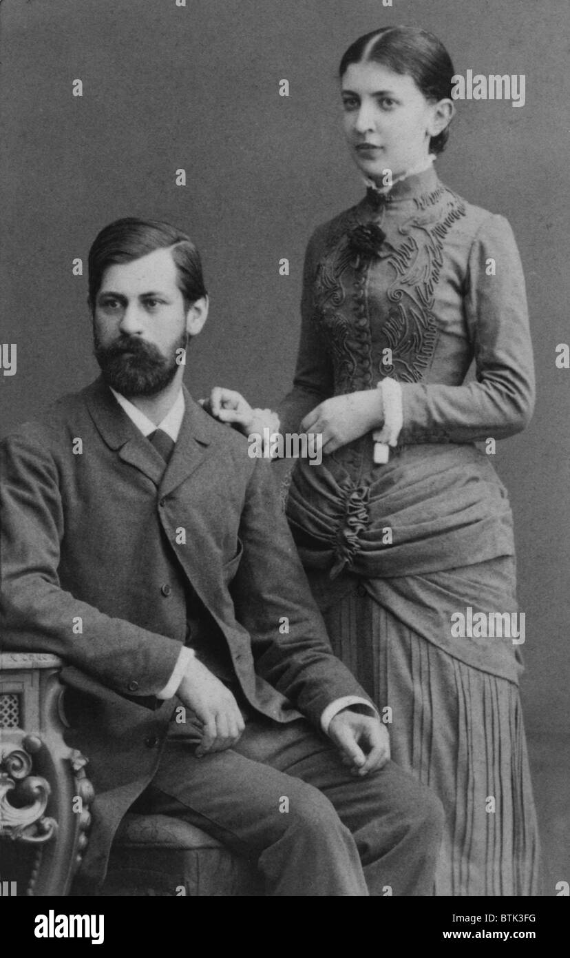 Sigmund Freud (1856-1939), and his fiancee Martha Bernays in June 1885, a year before their marriage. - Stock Image
