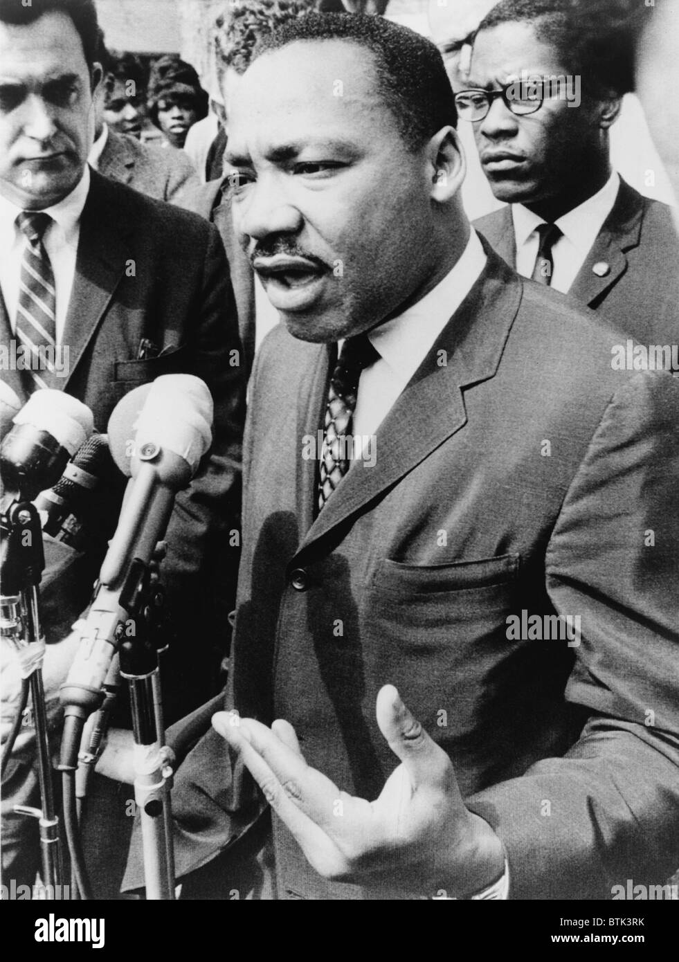Martin Luther King, Jr. (1929-1968), speaking at an informal news conference in Selma, Alabama, 1965. - Stock Image