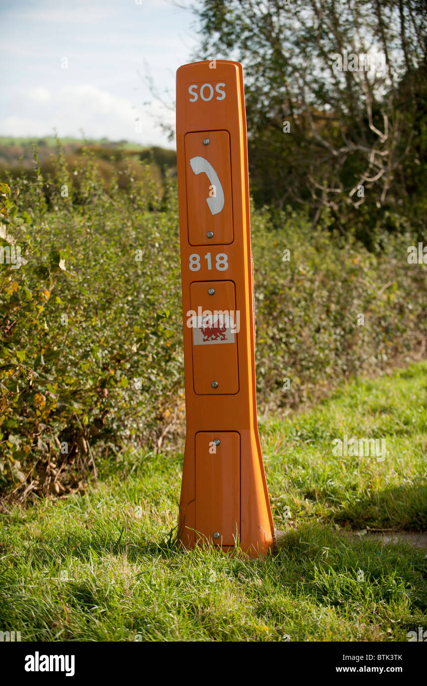 A roadside SOS emergency telephone point wales UK - Stock Image