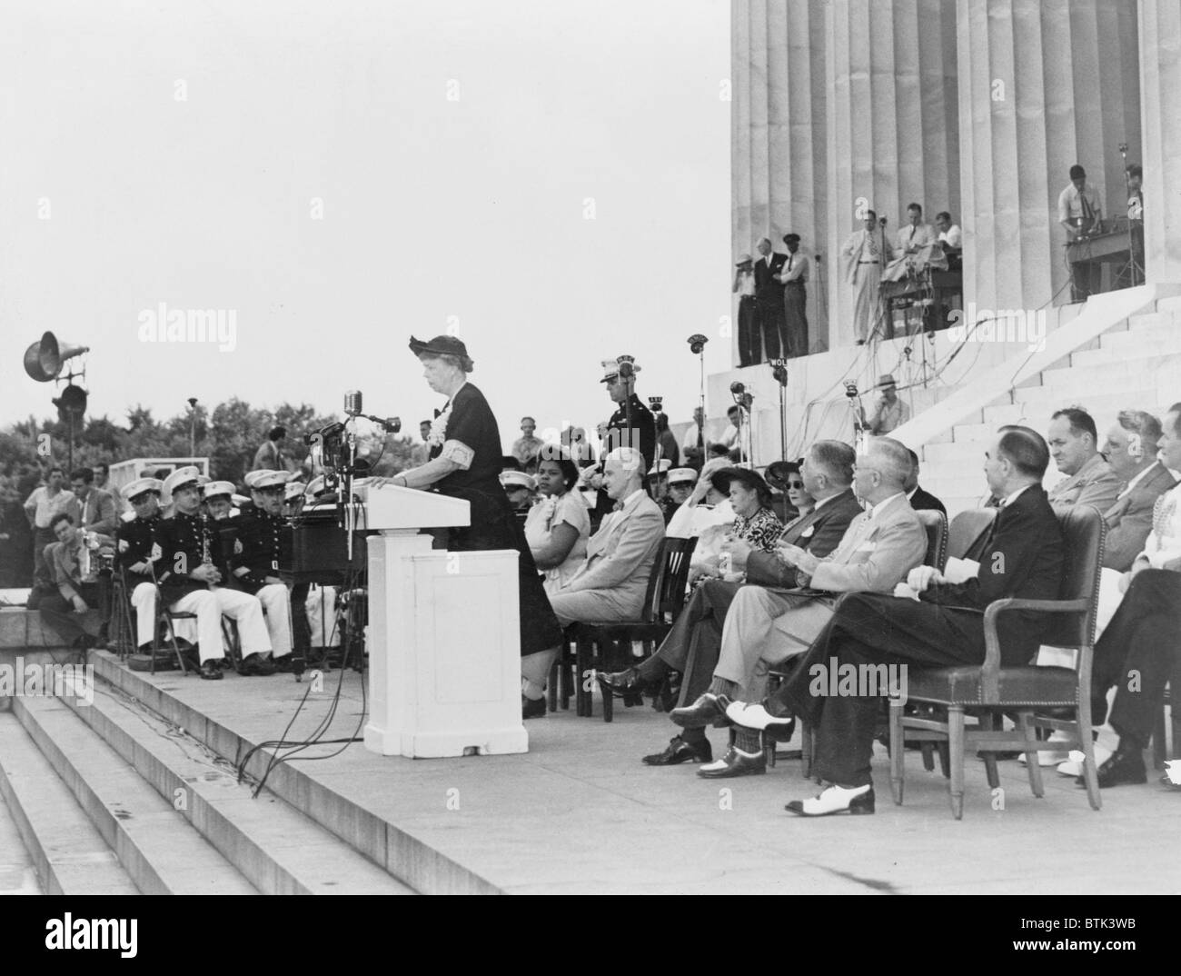 Mrs. Eleanor Roosevelt addressing the 38th annual conference of the National Association for the Advancement of - Stock Image