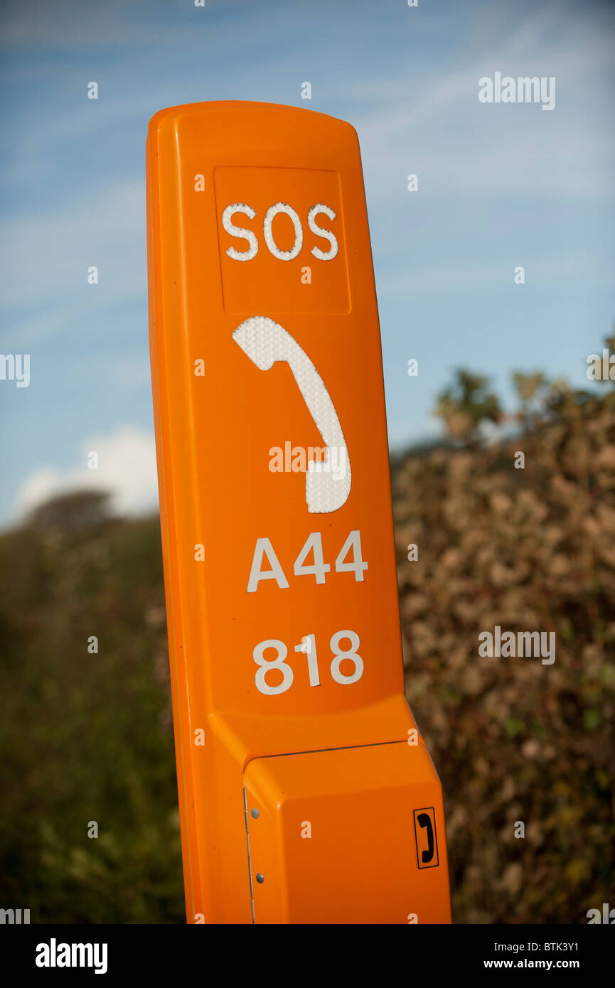 A roadside SOS emergency telephone point on the A44 trunk road wales UK - Stock Image