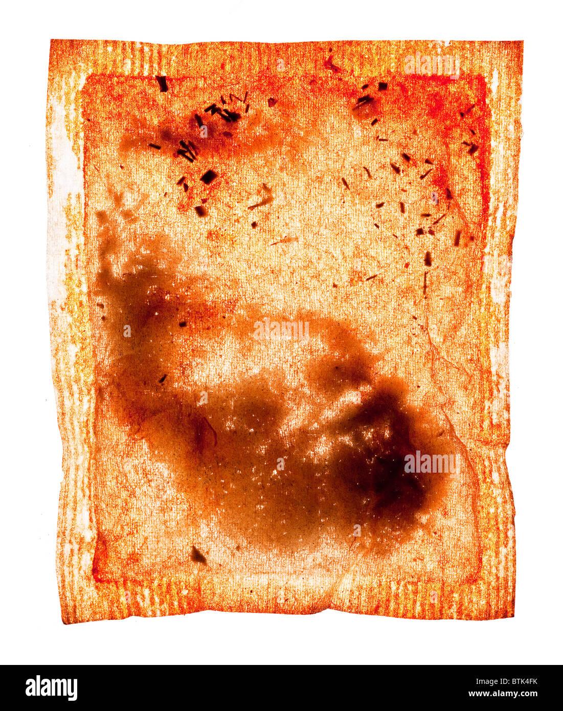 Tea bag with outline of foetus - Stock Image