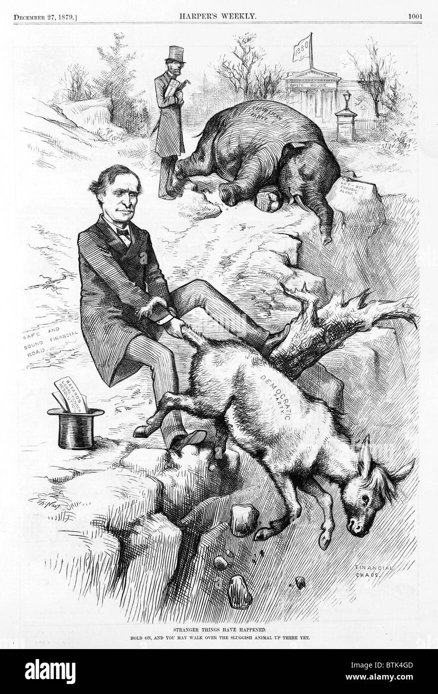 Thomas F. Bayard holding on to tail of Democratic donkey and the Republican elephant; the White House in background, - Stock Image
